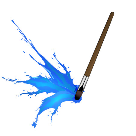 spilled paint: illustration of Colorful splash from brush