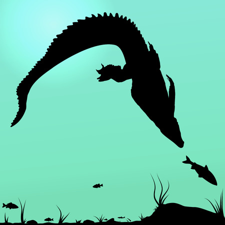 Silhouette of Hunting young Crocodile in underwater Vector