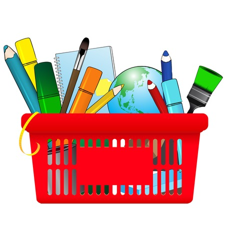 classroom supplies: illustration of Shopping card with school supplies