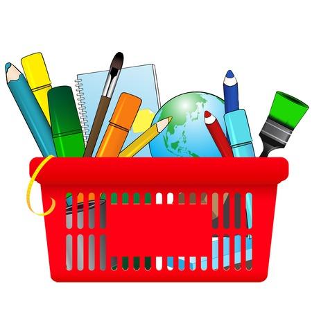 utiles escolares: Ilustraci�n de la tarjeta de compras de �tiles escolares Vectores
