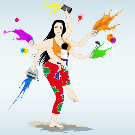 supermom: Multitasking super mother with six arms. Busy morning in colors