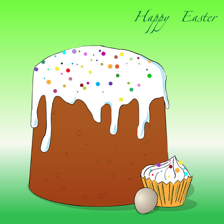 easter cake: illustration of Easter cake, cupcake and egg