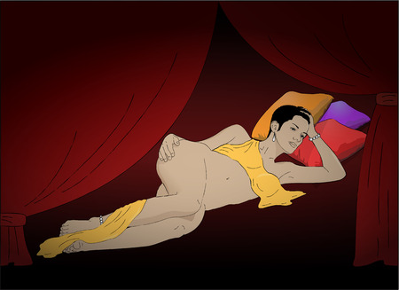 harem: illustration of lying Glamorous brunette woman