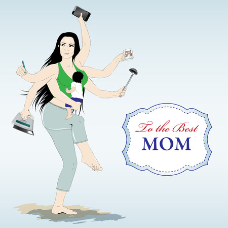 Happy mothers day card with Multitasking super mother Stock Photo