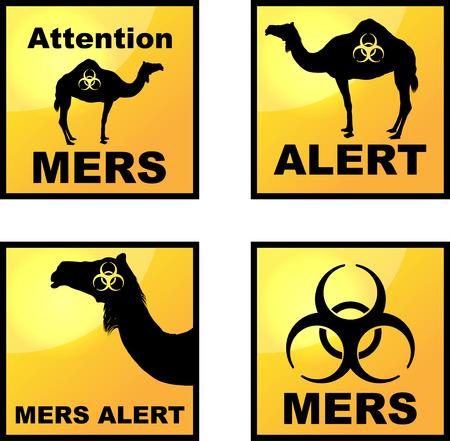 Set of vector Coronavirus alert icons  with dromedary silhouette photo