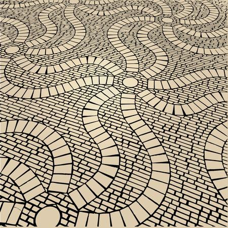 paving stone: Mosaic Cobblestone decorative Stock Photo