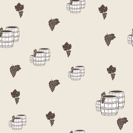 seamless pattern with wine barrels and grape photo