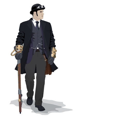 old business man: Steampunk young man on white detailed illustration