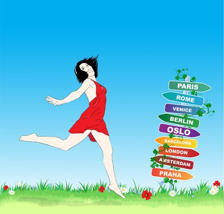 Summer destinations illustration. Happy Jumping girl Stock Photo