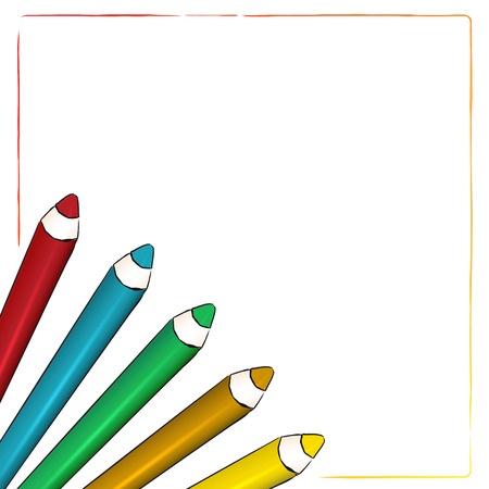 white  background with comic style Coloured pencils photo
