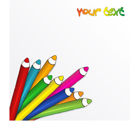 Vector white  background with comic style Coloured pencils photo