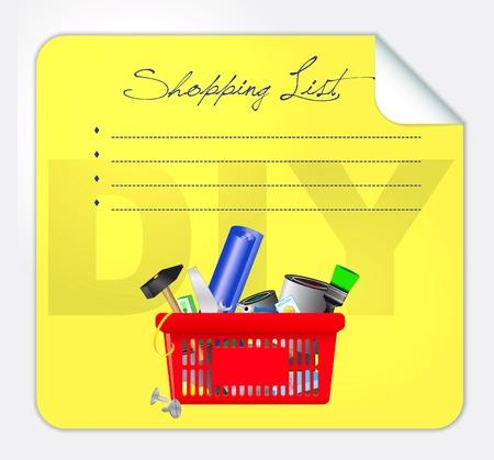 Vector illustration of a DIY shopping list illustration