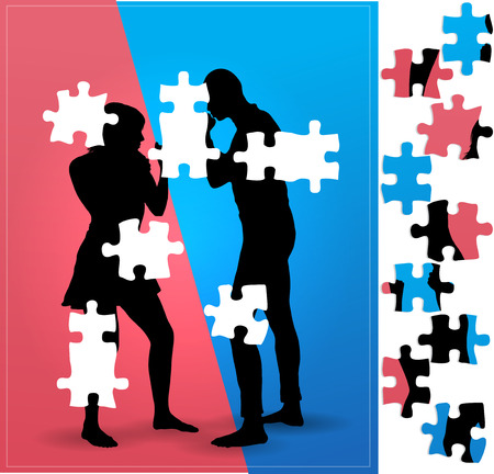 battle of the sexes: Couple argue fight : boxing. Illustration with Puzzle  pieces