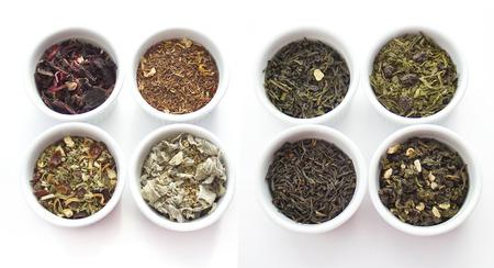 gunpowder tea: Herbal tea collection. White  cups isolated on white