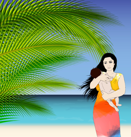 Mother and baby tropical vector illustration with palm tree leaves Vector