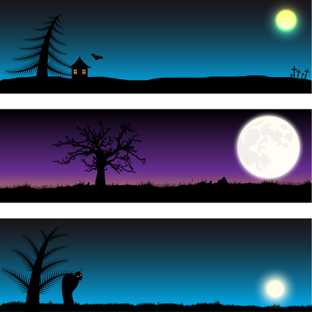 Set of three Halloween night vector banners