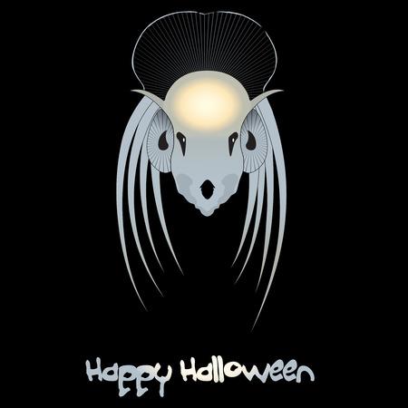 animated alien: Halloween monster  Vector Alien head on black Illustration