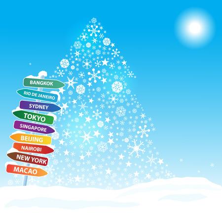 snow scene: Christmas  exotic trip. Eps10