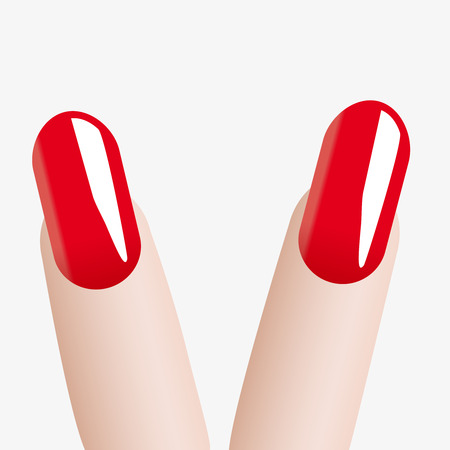 red nail colour: Fashion colours nail Victory Illustration
