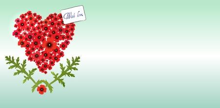 Heart of poppies Vector