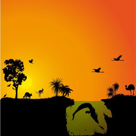 Australian fauna and flora Иллюстрация