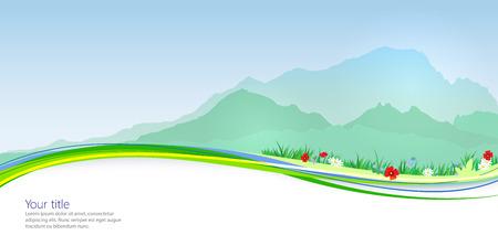 blanc: Vector Primavera banner con Mont Blanc silueta