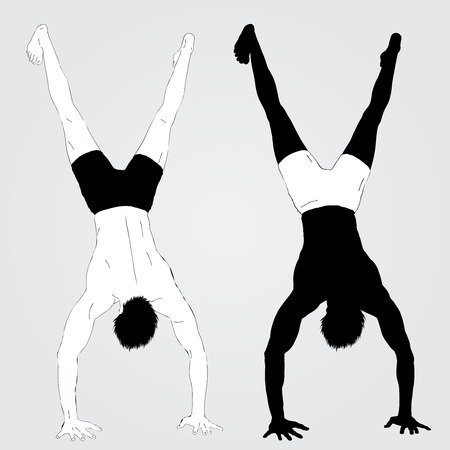 adult only: Two Young upside down standing  athletes. Black and white vector Illustration