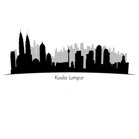 modern buildings: Kuala Lumpur vector skyline.  Black silhouette