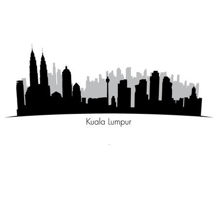 Kuala Lumpur vector skyline.  Black silhouette
