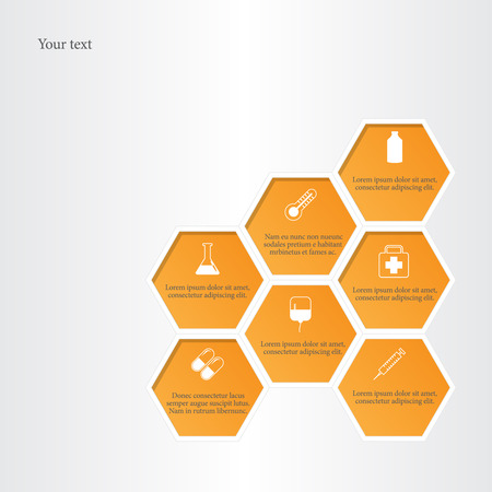 Honeycomb vector background with medical flat icons.