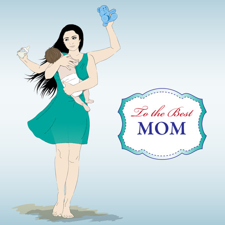 Happy mothers day card with Multitasking super mother Illustration