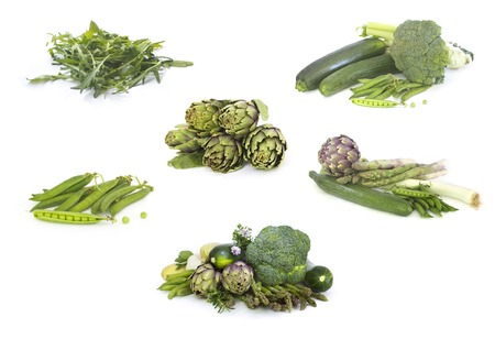 Set of Green veggies isolated  on white Banque d'images