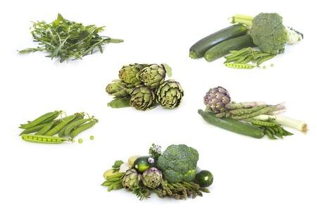 vegetables white background: Set of Green veggies isolated  on white Stock Photo