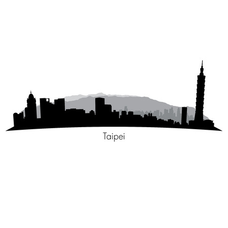 Taipei  black vector Skyline background with mountains
