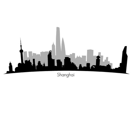 superstructure: Shanghai  black Skyline background. Eps 10 vector