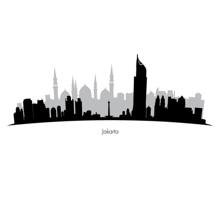 Detailed black and grey vector Jakarta silhouette skyline Illustration