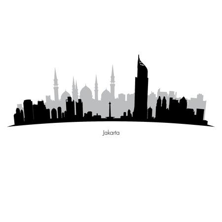 Detailed black and grey vector Jakarta silhouette skyline Ilustracja