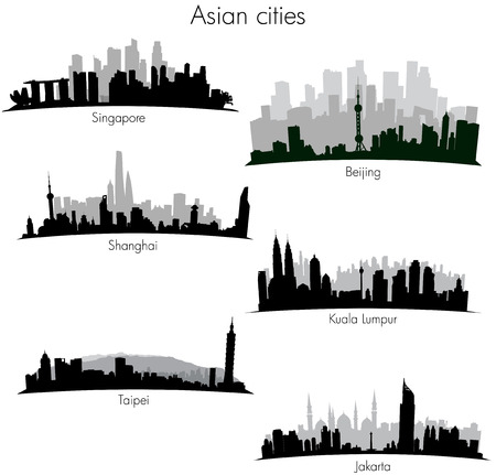 Detailed vector skylines of different asian cities Illustration