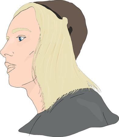 age: Portrait of Medieval young man. vector illustration Illustration
