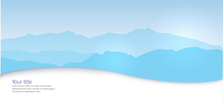 horizontal banner: Vector Winter horizontal banner with Canigou silhouette