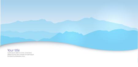 horizontal: Vector Winter horizontal banner with Canigou silhouette