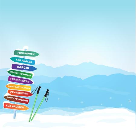 european alps: Vector Winter horizontal banner with Canigou silhouette