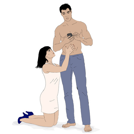 Pleading: Vector  illustration of young couple. Indifference and begging