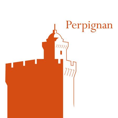 francais: Vector illustration of Peprpignan symbol  Castillet  tower