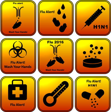 h1n1 vaccines: Set of vector flu alert  flat design icons Stock Photo