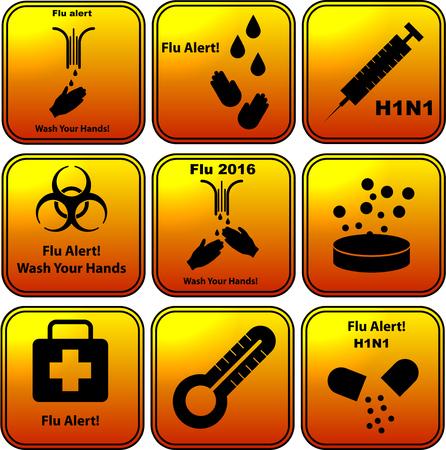 h1n1 vaccination: Set of vector flu alert  flat design icons Illustration