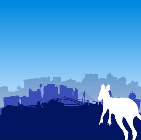 sydney skyline: Vector Sydney skyline illustration with silhouette of Kangaroo