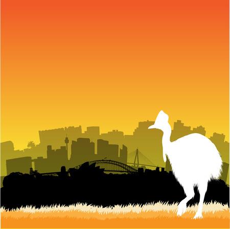 sydney skyline: Vector Sydney skyline illustration with silhouette of cassowary Illustration