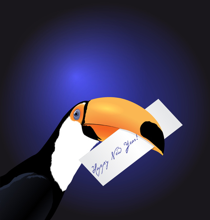 holyday: Vector Toucan head with Happy New Year card Illustration