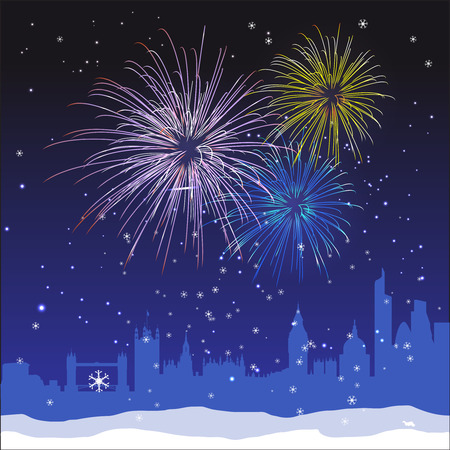 london: Vector Christmas ans New Year London background with fireworks and snow